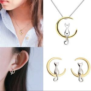 Jewelry - New cat & moon pendant necklace & earring set